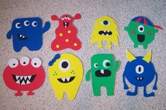 """My daughter, Anna, and I made these for my monster themed classroom. They're made with fun foam."" - students can make to decorate the door! Monster Party, Monster Birthday Parties, Monster Theme Classroom, Classroom Themes, Monster Bulletin Boards, Monster Book Of Monsters, Cute Monsters, Activities For Kids, Crafts For Kids"