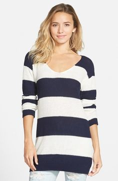 BP. Textured Knit Stripe Tunic (Juniors) available at #Nordstrom