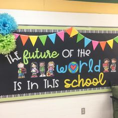 Every time I go by this bulletin board I can't help but smile. The future of t… Every time I go by this bulletin board I can't help but smile. The future of the world 🌎 is in fact in our schools and classrooms. World Bulletin Board, Office Bulletin Boards, Elementary Bulletin Boards, Kindergarten Bulletin Boards, Back To School Bulletin Boards, Classroom Bulletin Boards, Classroom Themes, Leadership Bulletin Boards, Reading Bulletin Boards