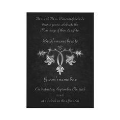 "Elegant gothic dark romance wedding 5x7"" announcement by TheHopefulRomantic"