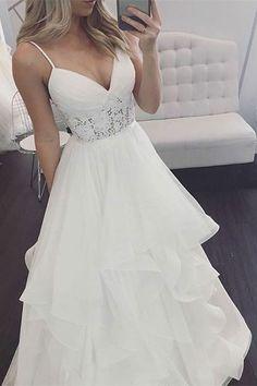 A-Line Spaghetti Straps Long Wedding Dress with Lace, simple beach wedding dresses, modest long boho bridal gowns #bohodress #beach #beachweddingdresses