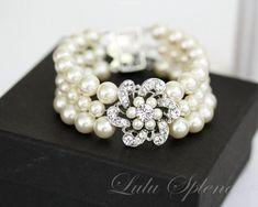 Pearl Wedding Bracelet Wedding Cuff Bracelet by LuluSplendor