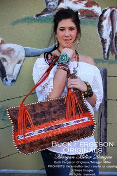 beaded cowhide purse