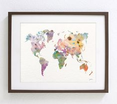 Colorful World Map Art Watercolor Painting 16x20 by ElfShoppe