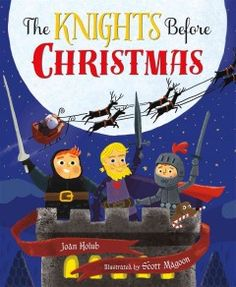 'Twas December 24th, and three brave knights were just settling in for the night when out on the drawbridge, there arose such a clatter! The knights try everything to get rid of this unknown invader (Santa Claus!), a red and white knight with a fleet of dragons . . .   But nothing would stop their white-whiskered foe. No matter their efforts, he just would not go!