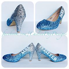 Mrs Wedding Aqua Ombre Glitter High Heels - pinned by pin4etsy.com