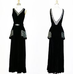 1930s 30s Antique Vintage Beaded Black  Silk Velvet Bias  Plunging Back Cocktail Party Dress on Etsy, $875.00