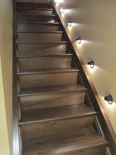 DIY stairs, basement stairs, stairway. Oh I love these & we could do this to ours & with the lights.