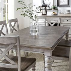 Gracie Oaks Ellender X Back 5 Piece Extendable Dining Set Solid Wood Dining Table, Dining Room Table, Grey Stained Wood Table, Dining Area, Painted Kitchen Tables, Grey Dining Tables, Round Dining, Estilo Colonial, Dining Table Makeover