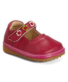 Look at this #zulilyfind! Raspberry Flower Leather Squeaker Mary Jane by Rainbow Steps #zulilyfinds
