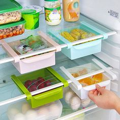 Double Your Storage with Under-Shelf Drawers Think about where the unused space is inside your fridge; it's likely the spots right under the shelf above. This simple solution, available on Amazon for $24.99 , is a set of slide-on drawers that allow you to stash small items in the space just below each shelf.
