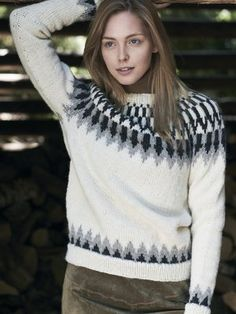 Inspired by traditional Icelandic knitwear, this sweater is knitted in the round from the hem up. Knitted from Novita Natura. Womens Knit Sweater, Knit Sweaters, Grey Sweater, In Natura, Knitting Supplies, Knit In The Round, Dress Gloves, Yarn Brands, Arm Knitting