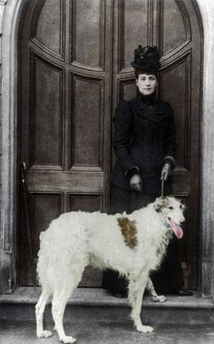 Queen Alexandra and her Borzoi