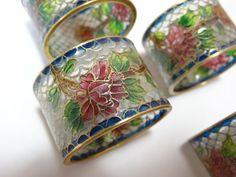4 Antique Vintage Chinese Cloisonne Plique a jour Napkin Rings Orig Box China