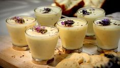 Lemon and lavender posset with lavender biscuits although this says 5-6 I halved it and it was just right for 4. I served it in espresso cups