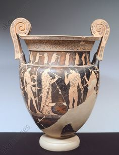 Attic volute krater representing athletes and aulos player, 470 BC, by the Altamura painter, red-figure pottery from Tomb 381 in the Necropolis of Valle Trebba, Emilia-Romagna, Italy. Italic Civilization, 5th Century BC.