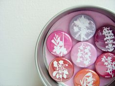 Fridge Magnets in a Tin  Set of Seven in Red Pink by KitzieG, $12.50