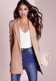 Get the layered look this season and up your style game with this tailored long line nude blazer. This supper classy jacket with long collar detail is seriously kickass. Team up with some jeans a bodysuit and heels for a flawless fashion fi. Long Blazer Jacket, Look Blazer, Tailored Jacket, Dress With Blazer, Tan Blazer, Suit Jacket, Blazers For Women, Coats For Women, Long Jackets For Women