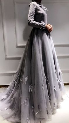 Prom Dresses Ball Gown,grey evening prom dress in 2020 Modest Dresses, Ball Dresses, Ball Gowns, Evening Dresses, Prom Dresses, Church Dresses, Abaya Fashion, Muslim Fashion, Modest Fashion