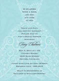 Filigree Dress Bali Bridal Shower Invitation by Noteworthy Collections - Invitation Box