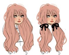 but now pink ! Cute Art Styles, Cartoon Art Styles, Amazing Drawings, Cute Drawings, Drawing Hair Tutorial, Cute Girl Drawing, Dibujos Cute, Art Poses, How To Draw Hair