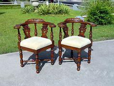 Pair~ Beautifully Carved Oak Corner Chairs circa1900