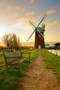 Early morning at Horsey Mill, Norfolk, England. Lovely circular walk around here to Horsey beach - spot the seals in winter Norfolk Broads, Norfolk England, Norwich England, Norfolk Coast, Old Windmills, Norwich Norfolk, All Nature, English Countryside, Northern Lights