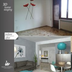 before and after   3d home staging   70's living room relooking