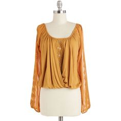 ModCloth Boho Short Length Long Sleeve Love and Sunlight Top ($28) ❤ liked on Polyvore featuring tops, modcloth, apparel, long sleeve woven, woven top, yellow, sheer long sleeve top, lace sleeve top, yellow shirt and short sleeve tops