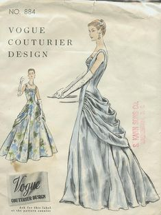 Nov. 1955 Vogue Couturier Design #884 - c.1880s bustle influence!