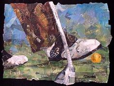 golf, collage, eileen downes, 20th street art gallery, collage, shoes, sacramento, torn paper