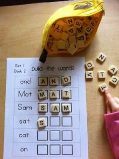 Scrabble letters to build first words and other fun first words activities using BOB books but could easily be adapted. Educational Activities For Kids, Preschool Learning, Fun Learning, Preschool Activities, Spelling Activities, Sight Word Activities, Kindergarten Sight Words, Letter Learning Games, Letter Recognition Kindergarten