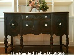 Black Painted Buffet Painted in General Finishes Lamp Black By The Painted Table Boutique