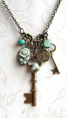 Garden key necklace, charm, sage green