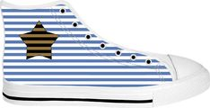 Star and marine stripes pattern sneakers, custom white high tops, geometric themed shoes - for more art and design be sure to visit www.casemiroarts.com, item printed by RageOn at www.rageon.com/a/users/casemiroarts - also available at www.casemiroarts.com This product is hand made and made on-demand. Expect delivery to US in 11-20 business days (international 14-30 business days). (time frames are aproximate) #sneakers #clothing #shoes #hightops