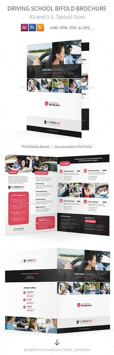 Driving School Bifold / Halffold Brochure Template PSD, Vector EPS, InDesign INDD, AI Illustrator
