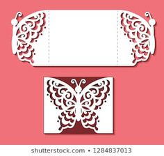 Card with butterfly for wedding, Valentines, gate fold invitation, greeting, save the day. Pattern on the ornate lace insect on red background. Valentines Anime, Valentines For Kids, Valentine Nails, Valentine Ideas, Cardboard Box Crafts, Paper Crafts Origami, Valentine Background, Red Background, Cajas Silhouette Cameo