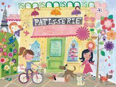 Outside The Patisserie by Jill McDonald Canvas Art