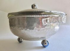 Rare Hammered Aluminum Lidded Serving Bowl Silver Footed