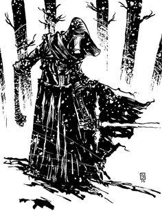 Star Wars - Kylo Ren by Skottie Young * Skottie Young, The Jersey Devil, Deadpool, Fanart, Young Art, Star Wars Kylo Ren, Cartoon Sketches, Black And White Drawing, Marvel