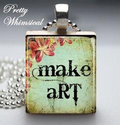 Make Art Scrabble Tile Pendant Jewelry by prettywhimsical on Etsy, $8.99
