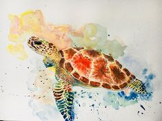 'watercolor sea turtle colorful trend' by alexialongeard Watercolor Video, Watercolor Sea, Watercolor Animals, Watercolor Paintings, Sea Life Art, Sea Art, Sea Turtle Art, Turtle Painting, Animal Tattoos