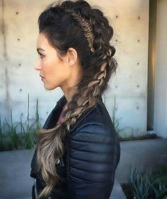 Double Mohawk Braid For Long Hair, from 38 Perfectly Imperfect Messy Hairstyles for All Lengths. via Hairstyle, Hair Messy Hairstyles, Pretty Hairstyles, Viking Hairstyles, Hairstyle Ideas, Faux Hawk Hairstyles, Hairstyles 2016, Mohawk Updo, Braided Mohawk, Braided Faux Hawk