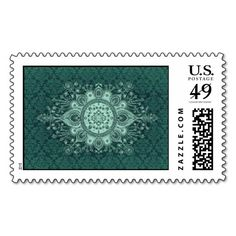 OPULENCE DAMASK: TRENDY AGED TEAL STAMPS