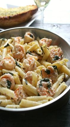 Buttery, garlicky shrimp tossed in a creamy basil wine sauce and pasta. This dinner for 2 is ready in 30 mins. Shrimp Dishes, Shrimp Pasta Recipes, Fish Recipes, Seafood Recipes, Cooking Recipes, Healthy Recipes, Pasta Recipes For Dinner, Lemon Shrimp Pasta, Meat Recipes