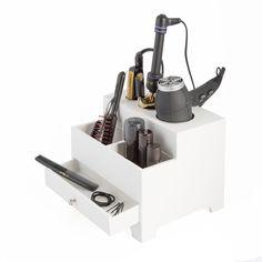 Richards Homewares 3-compartment Hair Dryer Organizer with Power Strip