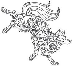 Baroque Wolf design (UTH7891) from UrbanThreads.com
