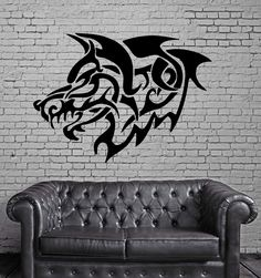 GREY WOLF ROAR TRIBAL DECOR Wall MURAL Vinyl Art Sticker M193