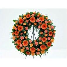 Coroa de Flores Laranja Funeral, Floral Wreath, Wreaths, Flower Arrangement, Decor, Empire Store, All Saints Day, Flower Arrangements, Rose Flower Arrangements
