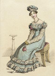 La Belle Assemblee, Dinner Dress, May 1822. Excellent trim! Remarkable turban, tiny reticule.